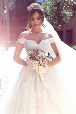 Cheap Off-the-shoulder Lace Puffy Appliques Tulle Wedding Dresses_5