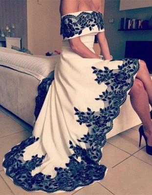 Off-the-shoulder Hi-Lo Appliques Lace Elegant Prom Dress_4