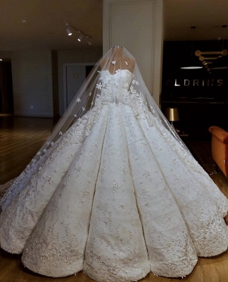 Luxurious Sweetheart Applique Ball Gown Wedding Dresses | Puffy Bridal Gown_2