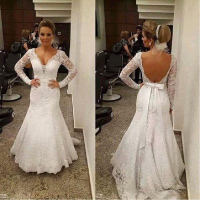 Mermaid V-neck Backless Long Sleevess Sashes Lace Sexy Wedding Dress_3