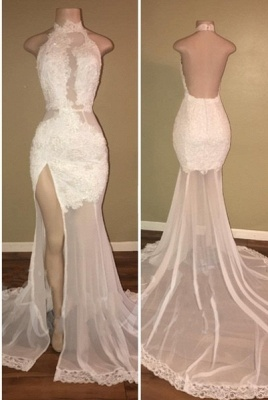 Elegant Lace Slit Prom Dresses | High Neck Backless Evening Gowns_1