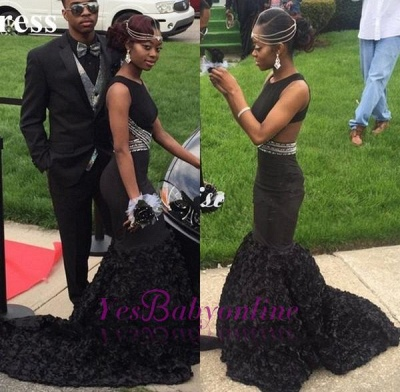 Sexy Mermaid Flower-Train Sleeveless Black Backless Long Prom Dress_1