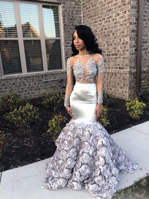 Elegant Long Sleeves Mermaid Prom Dresses | Appliques Evening Gown With Unique Train_1
