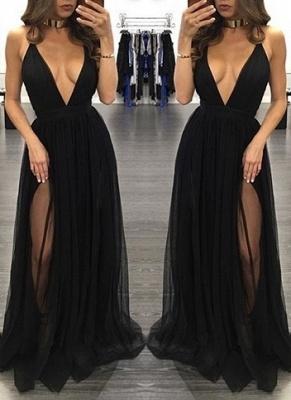 Black Backless Side-Slit Sexy Sleeveless  V-Neck Prom Dress_2