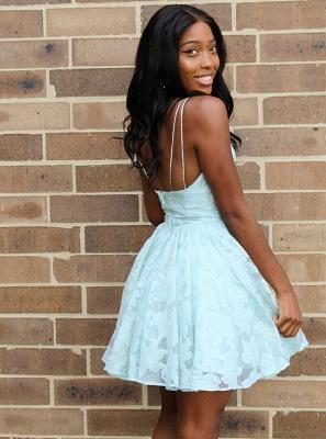 Cute Lace Spaghetti Strap A-line Homecoming Dress | Short Formal Dress_3
