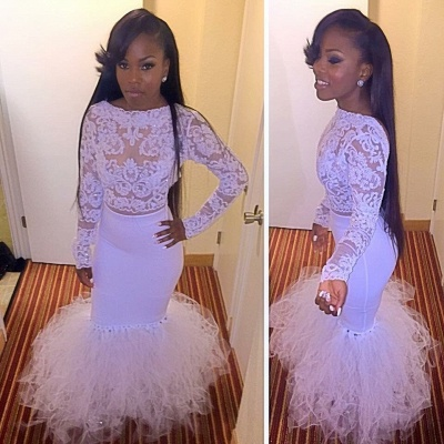 Mermaid Cheap Dress Prom Tulle Two-Piece Lace Long-Sleeves_2