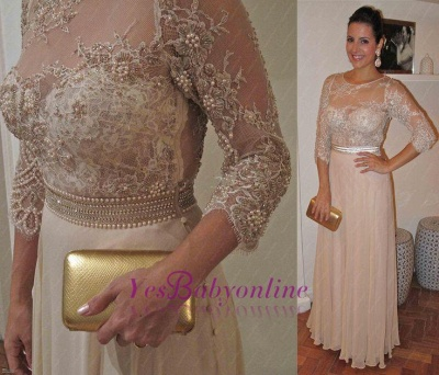 Sleeves Floor-Length Beadings Modest Lace A-Line Prom Dress_1