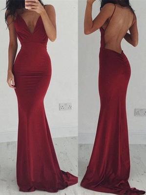 Spaghettis-Straps Sheath Burgundy Stretchy Backless Prom Dresses_3