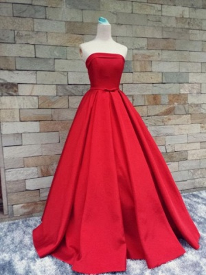 Puffy Strapless Simple Red Bows-Sashes Prom Dresses_4