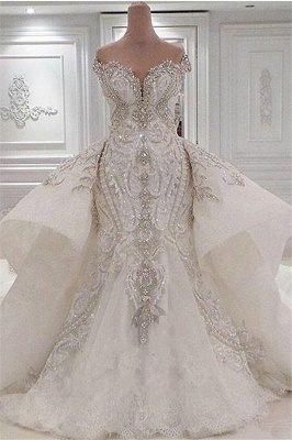 Sparkly Off the Shoulder Applique Mermaid Wedding Dresses With Detachable Train | Crystal Beaded Bridal Gown_1
