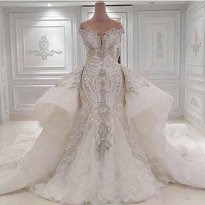 Sparkly Off the Shoulder Applique Mermaid Wedding Dresses With Detachable Train | Crystal Beaded Bridal Gown_2