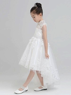 Lovely A-Line Hi-Lo Tulle High Neck Sleeveless Flower Girl Dress with Appliques_3