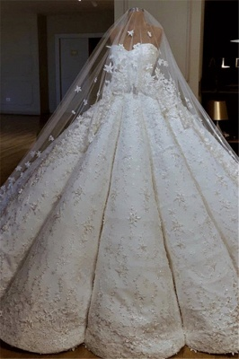 Luxurious Sweetheart Applique Ball Gown Wedding Dresses | Puffy Bridal Gown_1