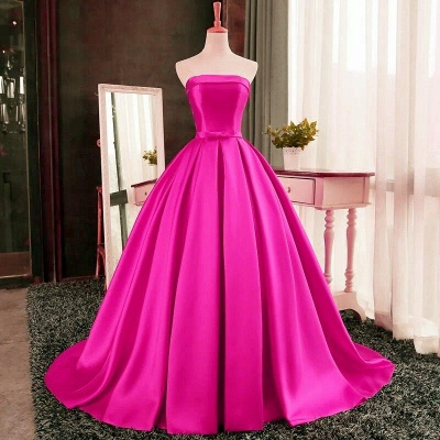 Puffy Strapless Simple Red Bows-Sashes Prom Dresses_3