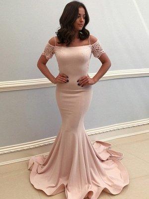 Elegant Spaghetti-Strap Evening Dresses | Bateau Mermaid Prom Dresses_1