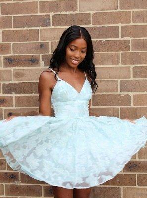 Cute Lace Spaghetti Strap A-line Homecoming Dress | Short Formal Dress_1