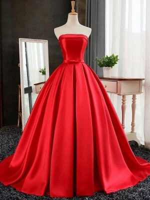 Puffy Strapless Simple Red Bows-Sashes Prom Dresses_2