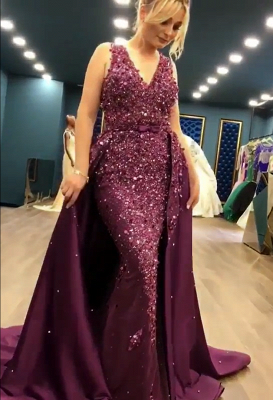 2019 Luxurious Sleeveless Mermaid Long Prom Dresses   V-Neck Overskirt Appliques Fashion Evening Gown_1