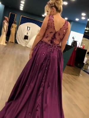 2019 Luxurious Sleeveless Mermaid Long Prom Dresses   V-Neck Overskirt Appliques Fashion Evening Gown_5