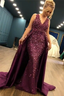 2019 Luxurious Sleeveless Mermaid Long Prom Dresses   V-Neck Overskirt Appliques Fashion Evening Gown_3