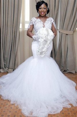 Glamorous Sexy Mermaid Lace Wedding Dresses   Long Sleeves Tulle Bridal Gowns_1
