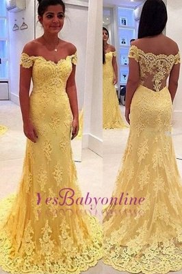 Mermaid Lace Yellow Off-the-Shoulder Prom Dresses_1