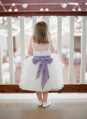 Sweet Bowknot Tulle Tea Length Flower Girl Dress | Cute Custom Made Dresses for Girl_2