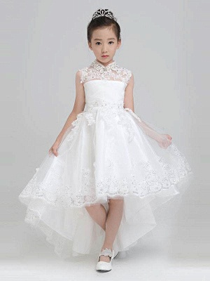 Lovely A-Line Hi-Lo Tulle High Neck Sleeveless Flower Girl Dress with Appliques_1