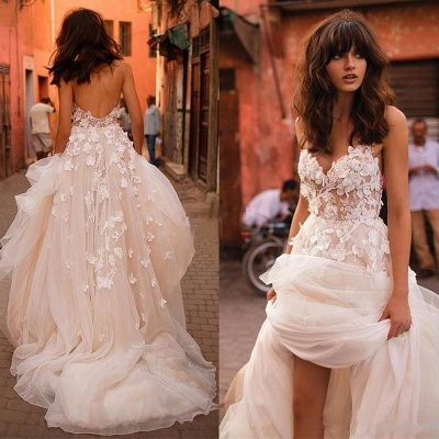 Glitter A-line Wedding Dress 3D-Floral Appliques Champagne Bridal Gowns_4