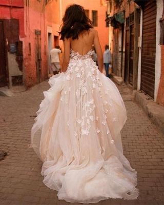 Glitter A-line Wedding Dress 3D-Floral Appliques Champagne Bridal Gowns_3