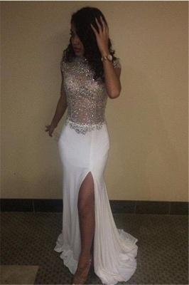 High Sequins Front Neck Prom Dresses Split Beading Cap Sleeves_3