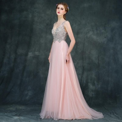 Luxury Backless Pink Long A-line Beaded V-Neck Prom Dresses_3