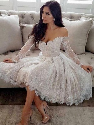 Elegant Long Sleeves Homecoming Dresses | A-Line Sweetheart Cocktail Dresses_1