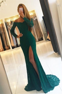 Off-the-Shoulder Side-Slit Lace Elegant Long-Sleeves Green Prom Dresses_2