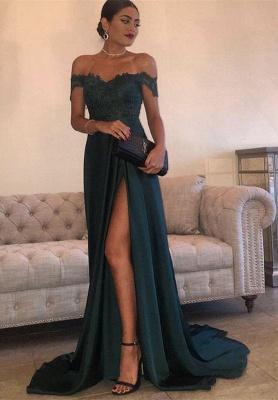 Elegant Dark Green Evening Gowns Off-the-Shoulder Side Split Prom Dresses_1