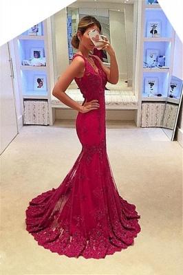 Sleeveless Glamorous Appliques Mermaid V-Neck Prom Dresses_2