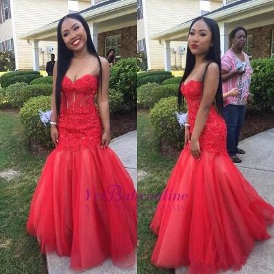 Floor-Length Tulle Sweetheart Red Mermaid Lace Sleeveless Prom Dresses_1