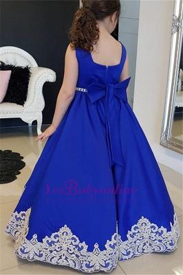 Blue Floor-length Royal A-Line Straps Flower Appliques Girl dresses_1