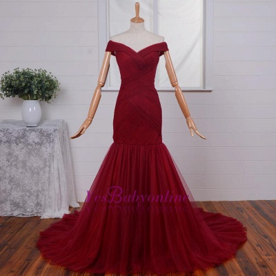 Ruched Red Off-the-Shoulder Long Tulle Mermaid Prom Dresses_1
