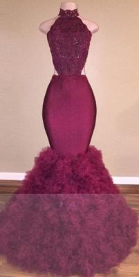 2019 Mermaid Prom Dresses High Neck Backless Ruffles Skirt Evening Gowns_4