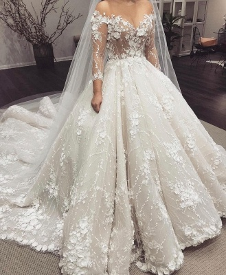 Glamorous Sheer Jewel Neck Long Sleeve Flowers Ball Gown Wedding Dresses | Puffy Beaded Bridal gown_2