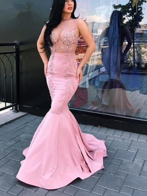 Glamorous Mermaid Sleeveless Prom Dresses | Pink Lace Floor-Long Evening Gowns_1