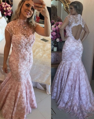 Lace Beaded Pink High-Neck Cap-Sleeves Open-Back Prom Dresses_2