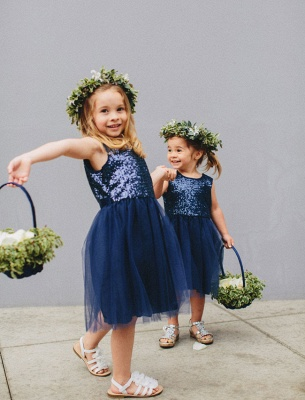 Lovely Blue Short Sequined Flower Girl Dresses_3