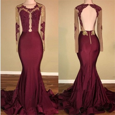 Amazing Burgundy Gold Prom Dresses | Long Sleeves Mermaid Evening Gowns_3