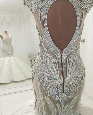 Stunning Straps Crystal Sequin Applique Open Back Fit And Flare Mermaid Wedding Dresses_3
