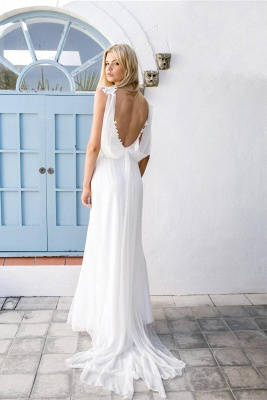 Boho Spaghetti Straps Backless Lace Chiffon Wedding Dresses | Destination Bridal Dresses_3