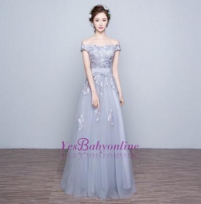 Off-the-Shoulder Floor-Length Lace-Appliques Lace-Up-Back A-line Prom Dresses_1