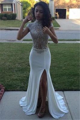 High Sequins Front Neck Prom Dresses Split Beading Cap Sleeves_2