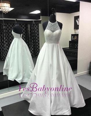 Halter White Back-zipper Beads Long Evening Dress_1